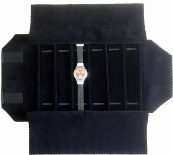 Rouleau pour montres, 6 cases (240x46 mm) + élastiques