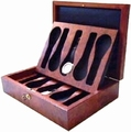 Case for 10 watches in elm burl, with 2 trays.