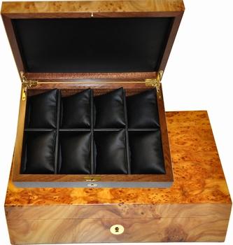 Coffret de luxe en loupe d'orme pour montres, 8 coussins.